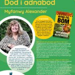Poster efo gwybodaeth am Awdur y Mis Myfanwy Alexander