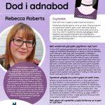 Poster efo gwybodaeth am Awdur y Mis Rebecca Roberts